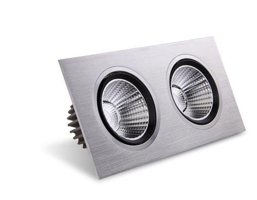 Square LED ceiling spotlights.