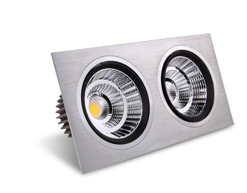 Double-headed LED ceiling spotlights.